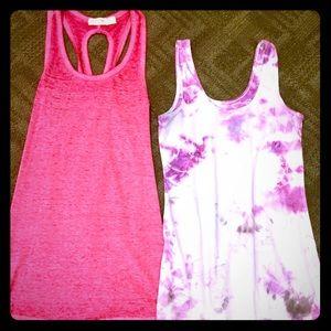 Pink Acid Wash Cross Back Tank Top Bundle